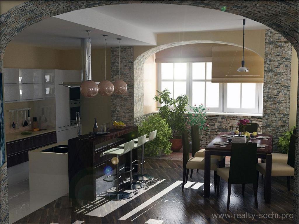 дизайн кухни-столовой-гостиной с барной стойкой в частном доме фото #11